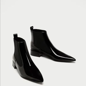 NWT Zara Black Patent Leather Chelsea ankle boots